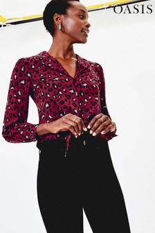 Oasis Red Burgundy Animal Shirt