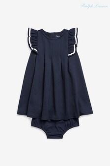 Ralph Lauren Navy Ruffle Dress