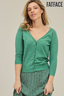 FatFace Green Rose Cardigan