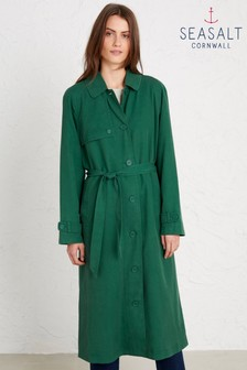 Seasalt Green Tranquil Sea Trench Coat