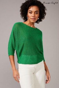 Phase Eight Green Delmi Linen V-Neck Knit Jumper