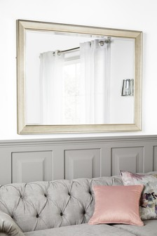 Silver Textured Slim Frame Mirror
