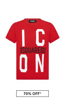 Dsquared2 Kids Boys Red Cotton T-Shirt