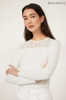 Warehouse White Lace Yoke Jumper