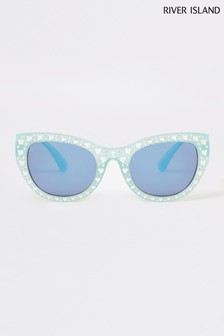 River Island Green Light Embellished Glam Sunglasses