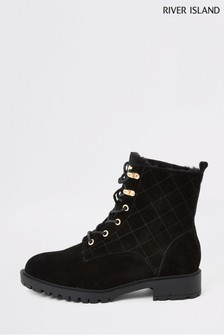 River Island Black Suede Quilted Chunky Shoes