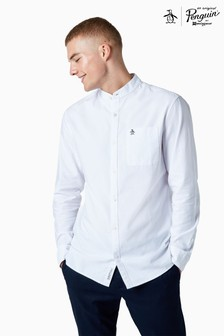 Original Penguin® White Grandad Collar Cotton Oxford Long Sleeve Shirt