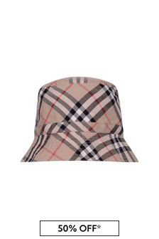 Kids Beige Vintage Check Cotton Hat