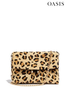 Oasis Animal Suede Leopard Foldover Bag