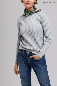 GANT Grey Stretch Cotton Cable C-Neck Jumper