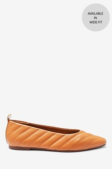 Almond Toe Quilted Ballerina Shoes
