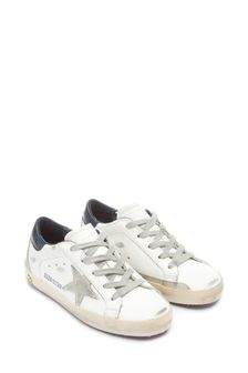 Kids White Leather & Suede Superstar Trainers
