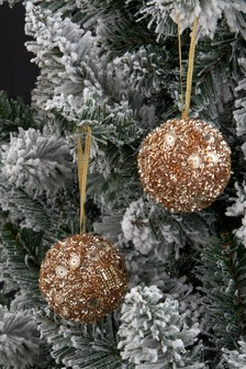 Set of 2 Gold Sequin Baubles