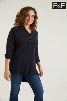 F&F TENCEL™ Collarless Navy Tunic