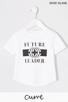 River Island White Future Leaders Double Curve T-Shirt