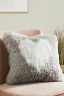 Grey Faux Fur Heart Cushion