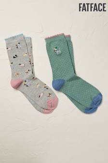 FatFace Green Party Dog Socks Two Pack
