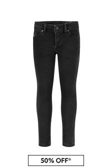 Diesel Boys Black Cotton Jeans