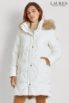 Lauren Ralph Lauren® Quilted Midi Faux Fur Trim Coat