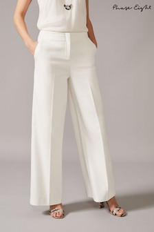 Phase Eight White Raphaelle Wide Leg Trousers