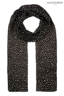 Accessorize Black Polka Dot Silk Scarf