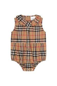 Burberry Kids Baby Girls Beige Cotton Romper