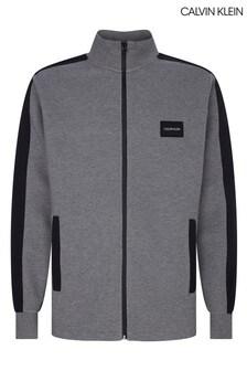 Calvin Klein Grey Mixed Media Back Logo Jacket