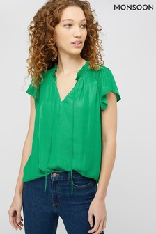Monsoon Green Wilda Shirred Woven Front Top
