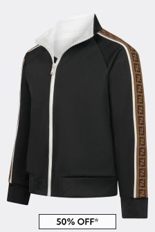 Fendi Kids Black Logo Trim Zip Up Top