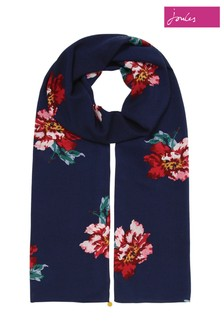 Joules Blue Conway Printed Scarf