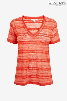 Great Plains Red Camilla Texture V-Neck Top