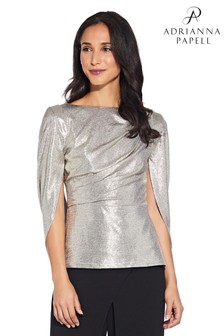 Adrianna Papell Light Gold Metallic Cowl Cape Top