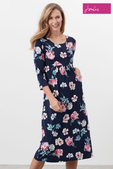 Joules Blue Audrey Jersey Midi Dress With Pockets