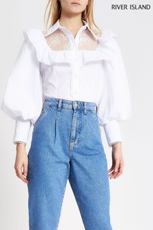 River Island White Puff Hybrid Shirt