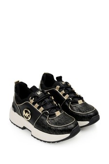 Girls Black/Gold Logo Trainers