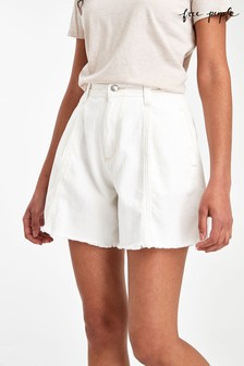 Free People White A-Line Shorts