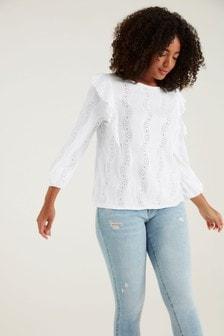 F&F Long Sleeve Broderie Wowzer Cream T-Shirt