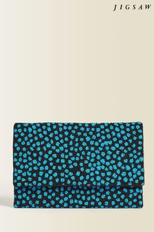 Jigsaw Animal Beaded Cheetah Print Clutch Bag