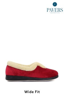 Pavers Navy Red Ladies Wide Fit Full Slippers