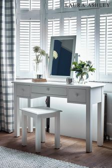 Ashwell Cotton White 3 Drawer Dressing Table Stool Set by Laura Ashley