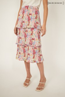 Warehouse Natural Floral Tiered Midi Skirt