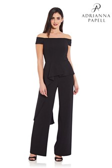 Adrianna Papell Off Shoulder Cascade Jumpsuit