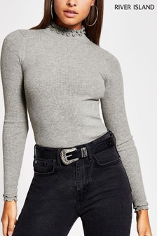 River Island Grey Light Frill Neck Knitted Bodyfit Top