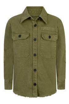 Girls Khaki Cotton Overshirt