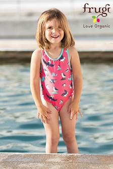 Frugi UPF 50+ Pink Puffin Racer Back Swimming Costume