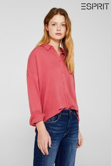 Esprit Pink Fine Casual Coral Oxford Shirt