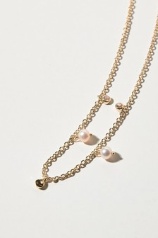 Oliver Bonas Gold Susie Gem & Pearl Gold Plated Necklace