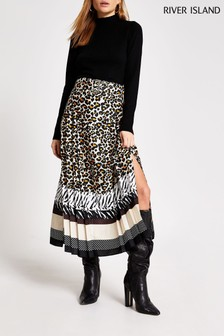 River Island Beige Light Animal Print Belted Pleat Midi Skirt