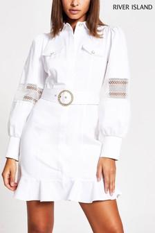 River Island White Lace Trim Shirt Mini Dress