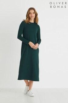 Oliver Bonas Green Ribbed Jersey Swing Midi Dress